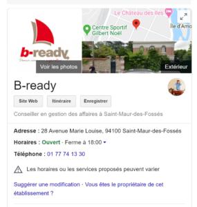 Copie écran Fiche Google Business b-ready